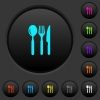 Restaurant dark push buttons with color icons - Restaurant dark push buttons with vivid color icons on dark grey background