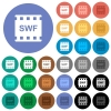 SWF movie format multi colored flat icons on round backgrounds. Included white, light and dark icon variations for hover and active status effects, and bonus shades. - SWF movie format round flat multi colored icons
