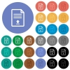 Upload document round flat multi colored icons - Upload document multi colored flat icons on round backgrounds. Included white, light and dark icon variations for hover and active status effects, and bonus shades.