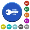 128 bit rsa encryption beveled buttons - 128 bit rsa encryption round color beveled buttons with smooth surfaces and flat white icons