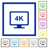 4K display flat color icons in square frames on white background - 4K display flat framed icons