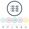 Multiple image selection with checkboxes flat color icons in round outlines - Multiple image selection with checkboxes flat color icons in round outlines. 6 bonus icons included.