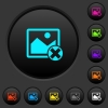 Cancel image operations dark push buttons with color icons - Cancel image operations dark push buttons with vivid color icons on dark grey background