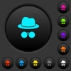 Incognito with glasses dark push buttons with color icons - Incognito with glasses dark push buttons with vivid color icons on dark grey background