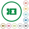 Leather goods discount coupon flat icons with outlines - Leather goods discount coupon flat color icons in round outlines on white background