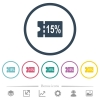 15 percent discount coupon flat color icons in round outlines - 15 percent discount coupon flat color icons in round outlines. 6 bonus icons included.