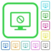 Disabled display vivid colored flat icons - Disabled display vivid colored flat icons in curved borders on white background