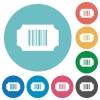 Ticket with barcode flat round icons - Ticket with barcode flat white icons on round color backgrounds
