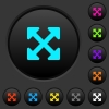 Resize full alt dark push buttons with vivid color icons on dark grey background - Resize full alt dark push buttons with color icons