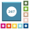 24 hours seven sticker white icons on edged square buttons - 24 hours seven sticker white icons on edged square buttons in various trendy colors