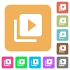 Video library flat icons on rounded square vivid color backgrounds. - Video library rounded square flat icons