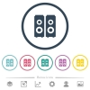 Speakers flat color icons in round outlines - Speakers flat color icons in round outlines. 6 bonus icons included.