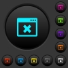 Browser cancel dark push buttons with color icons - Browser cancel dark push buttons with vivid color icons on dark grey background
