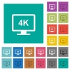 4K display multi colored flat icons on plain square backgrounds. Included white and darker icon variations for hover or active effects. - 4K display square flat multi colored icons