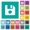 File comment square flat multi colored icons - File comment multi colored flat icons on plain square backgrounds. Included white and darker icon variations for hover or active effects.