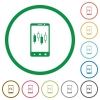 Mobile broker flat icons with outlines - Mobile broker flat color icons in round outlines on white background