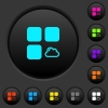 Cloud component dark push buttons with vivid color icons on dark grey background - Cloud component dark push buttons with color icons
