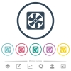 Computer fan flat color icons in round outlines. 6 bonus icons included. - Computer fan flat color icons in round outlines
