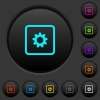 Object settings dark push buttons with color icons - Object settings dark push buttons with vivid color icons on dark grey background