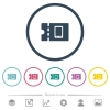 Mobile phone discount coupon flat color icons in round outlines - Mobile phone discount coupon flat color icons in round outlines. 6 bonus icons included.