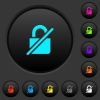 Unprotected dark push buttons with color icons - Unprotected dark push buttons with vivid color icons on dark grey background