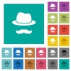 Incognito with mustache square flat multi colored icons - Incognito with mustache multi colored flat icons on plain square backgrounds. Included white and darker icon variations for hover or active effects.