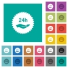 24h service sticker square flat multi colored icons - 24h service sticker multi colored flat icons on plain square backgrounds. Included white and darker icon variations for hover or active effects.