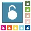 Unlocked round padlock white icons on edged square buttons - Unlocked round padlock white icons on edged square buttons in various trendy colors