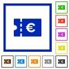 Euro discount coupon flat framed icons - Euro discount coupon flat color icons in square frames on white background