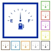 Fuel indicator flat color icons in square frames on white background - Fuel indicator flat framed icons