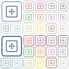 Drag object outlined flat color icons - Drag object color flat icons in rounded square frames. Thin and thick versions included.