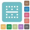 Horizontal border rounded square flat icons - Horizontal border white flat icons on color rounded square backgrounds