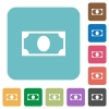 Single banknote rounded square flat icons - Single banknote white flat icons on color rounded square backgrounds