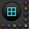 All borders dark push buttons with color icons - All borders dark push buttons with vivid color icons on dark grey background