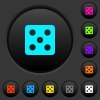 Dice five dark push buttons with color icons - Dice five dark push buttons with vivid color icons on dark grey background