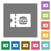 Fast food restaurant discount coupon square flat icons - Fast food restaurant discount coupon flat icons on simple color square backgrounds