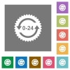 24 hours sticker with arrows square flat icons - 24 hours sticker with arrows flat icons on simple color square backgrounds