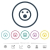 Shocked emoticon flat color icons in round outlines. 6 bonus icons included. - Shocked emoticon flat color icons in round outlines