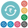 Rupee pay back flat round icons - Rupee pay back flat white icons on round color backgrounds