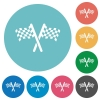 Two chequered flags flat round icons - Two chequered flags flat white icons on round color backgrounds