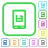 Mobile save data vivid colored flat icons - Mobile save data vivid colored flat icons in curved borders on white background