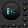 Network file system with server dark push buttons with color icons - Network file system with server dark push buttons with vivid color icons on dark grey background