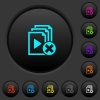 Cancel playlist dark push buttons with color icons - Cancel playlist dark push buttons with vivid color icons on dark grey background