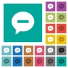 Delete comment square flat multi colored icons - Delete comment multi colored flat icons on plain square backgrounds. Included white and darker icon variations for hover or active effects.