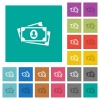 More banknotes with portrait square flat multi colored icons - More banknotes with portrait multi colored flat icons on plain square backgrounds. Included white and darker icon variations for hover or active effects.