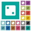 Dice two square flat multi colored icons - Dice two multi colored flat icons on plain square backgrounds. Included white and darker icon variations for hover or active effects.