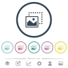 Drag image to bottom left flat color icons in round outlines - Drag image to bottom left flat color icons in round outlines. 6 bonus icons included.