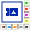 Camping discount coupon flat framed icons - Camping discount coupon flat color icons in square frames on white background