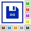 Symbolic link file flat framed icons - Symbolic link file flat color icons in square frames on white background