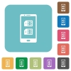 Dual SIM mobile rounded square flat icons - Dual SIM mobile white flat icons on color rounded square backgrounds